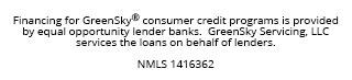 Financing for GreenSky© credit programs is provided by federally insured, federal and state chartered financial institutions without regard to race, color, religion, national origin, gender or familial status. NMLS #1416362; CT SLC-1416362; NJMT #1501607 C22